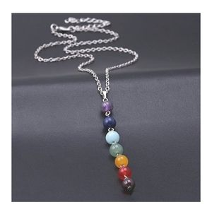 2/$25 Silver Chakra Natural Stone Necklace
